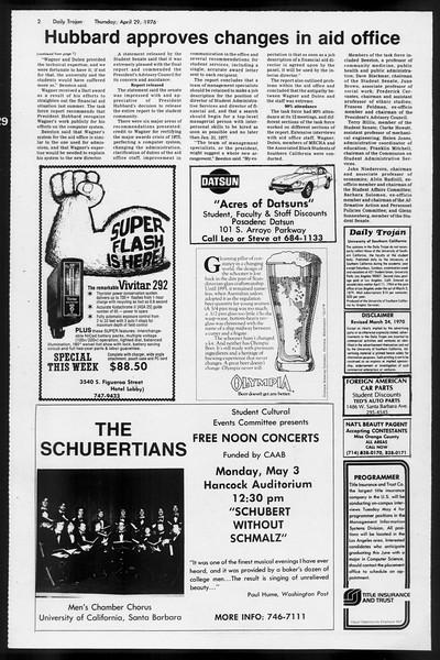 Daily Trojan, Vol. 68, No. 119, April 29, 1976