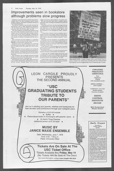 Daily Trojan, Vol. 73, No. 63, May 18, 1978