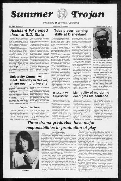Summer Trojan, Vol. 66, No. 9, July 17, 1973