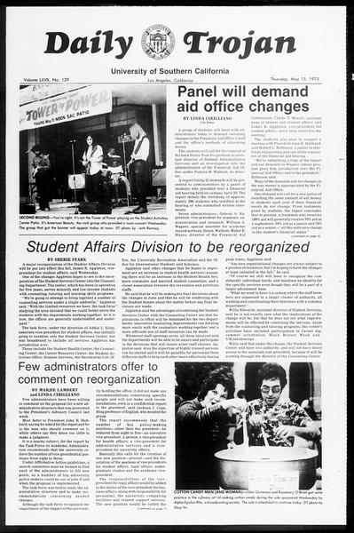 Daily Trojan, Vol. 67, No. 129, May 15, 1975