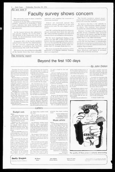 Daily Trojan, Vol. 67, No. 45, November 20, 1974