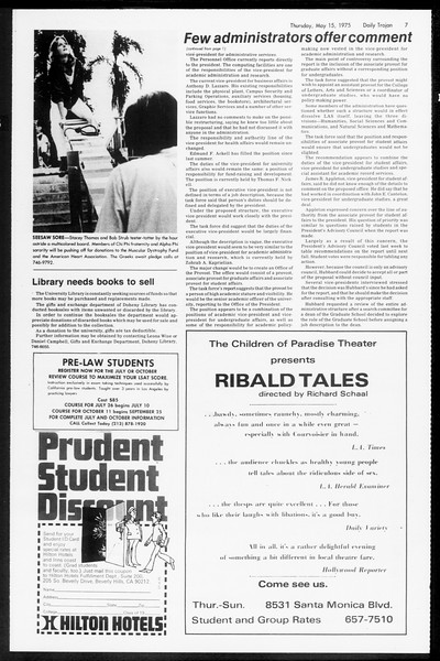 Daily Trojan, Vol. 67, No. 129, May 15, 1975