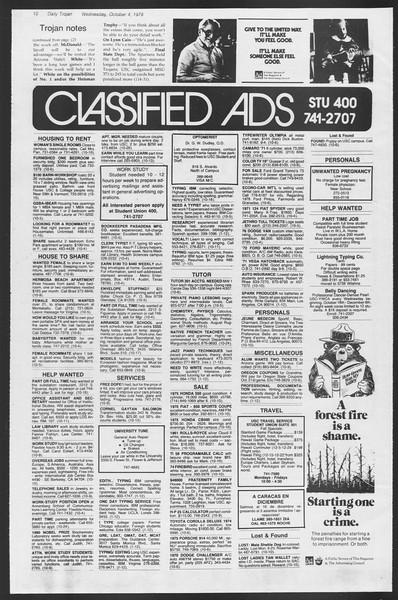 Daily Trojan, Vol. 75, No. 12, October 04, 1978