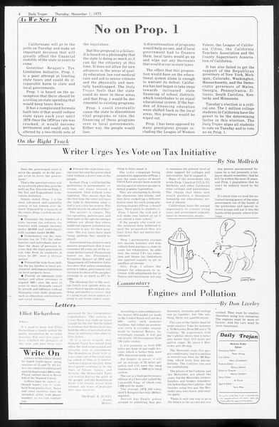 Daily Trojan, Vol. 66, No. 32, November 01, 1973