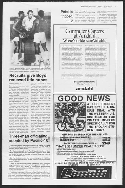 Daily Trojan, Vol. 75, No. 31, November 01, 1978
