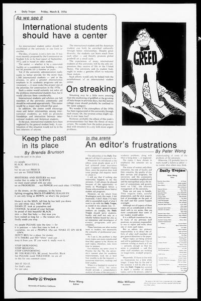 Daily Trojan, Vol. 66, No. 86, March 08, 1974