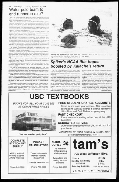 Daily Trojan, Vol. 67, No. 1, September 10, 1974