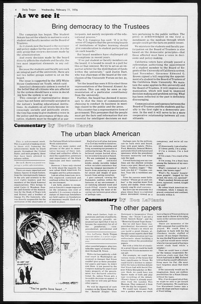 Daily Trojan, Vol. 68, No. 72, February 11, 1976