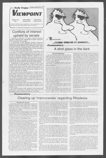 Daily Trojan, Vol. 73, No. 27, March 28, 1978