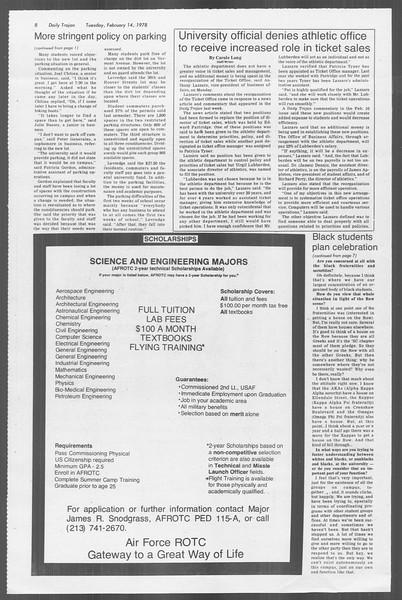 Daily Trojan, Vol. 73, No. 6, February 14, 1978