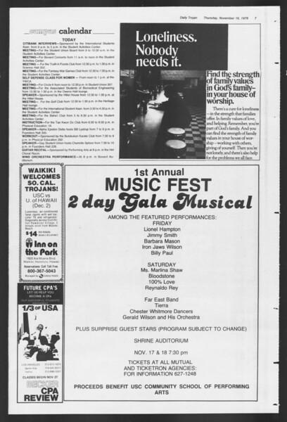 Daily Trojan, Vol. 75, No. 39, November 16, 1978