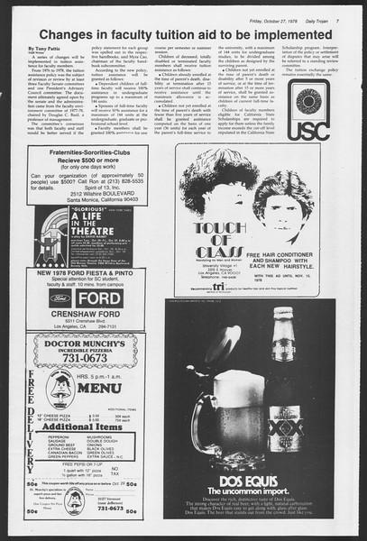 Daily Trojan, Vol. 75, No. 28, October 27, 1978