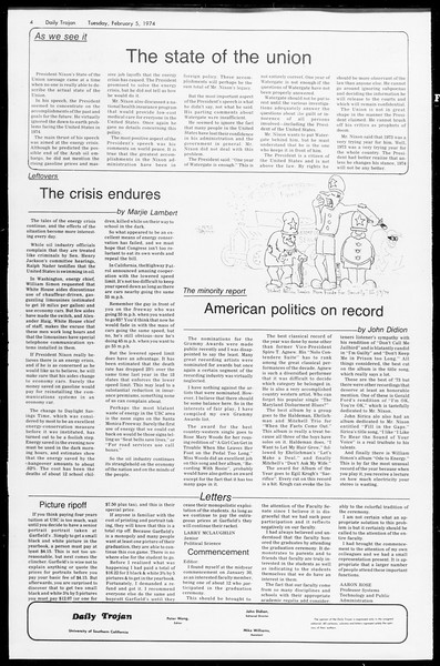 Daily Trojan, Vol. 66, No. 65, February 05, 1974