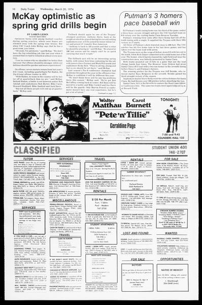 Daily Trojan, Vol. 66, No. 94, March 20, 1974