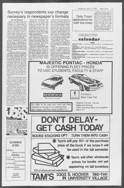 Daily Trojan, Vol. 73, No. 62, May 17, 1978