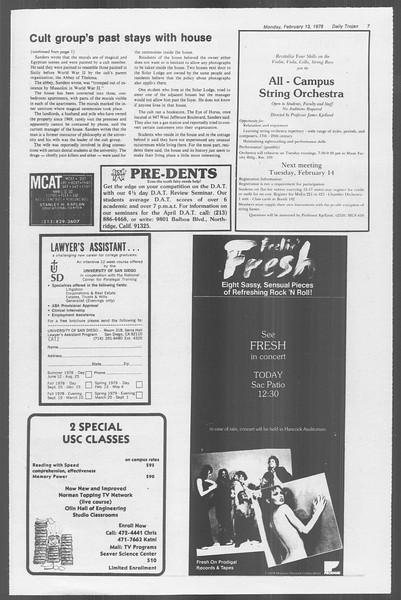 Daily Trojan, Vol. 73, No. 5, February 13, 1978