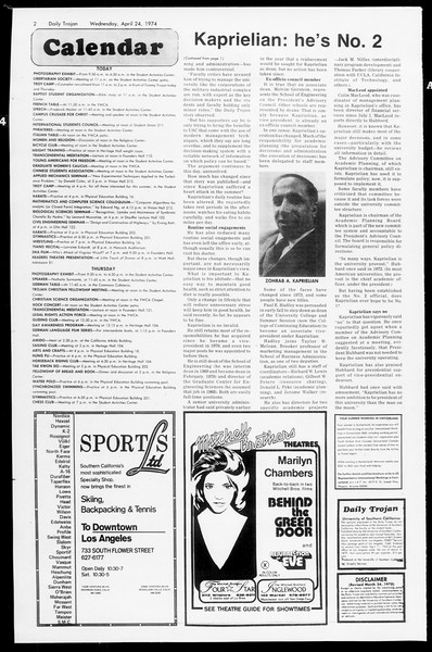 Daily Trojan, Vol. 66, No. 112, April 24, 1974