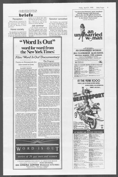 Daily Trojan, Vol. 73, No. 45, April 21, 1978