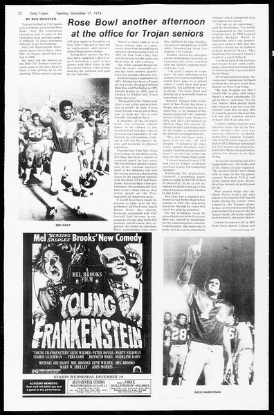 Daily Trojan, Vol. 67, No. 60, December 17, 1974