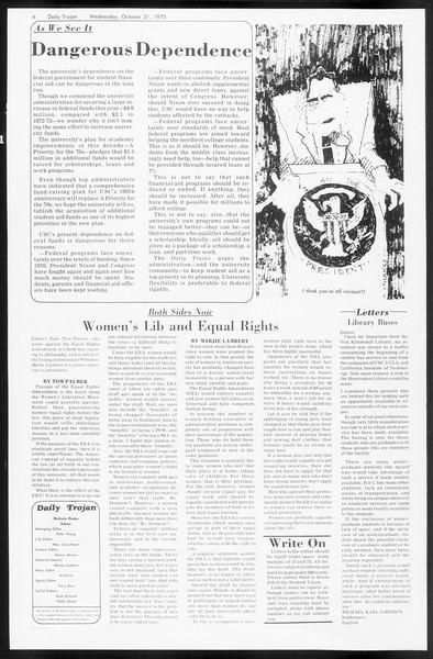 Daily Trojan, Vol. 66, No. 31, October 31, 1973