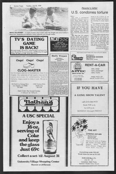 Summer Trojan, Vol. 74, No. 12, July 25, 1978