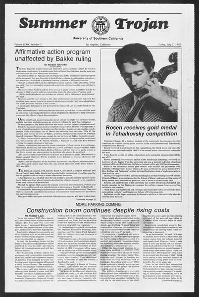 Summer Trojan, Vol. 74, No. 7, July 07, 1978