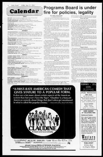 Daily Trojan, Vol. 66, No. 129, May 17, 1974