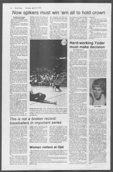 Daily Trojan, Vol. 73, No. 49, April 27, 1978