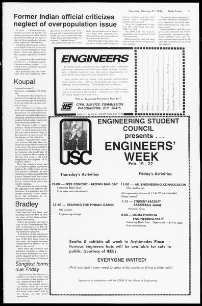 Daily Trojan, Vol. 66, No. 75, February 21, 1974
