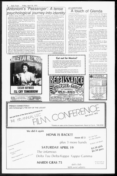 Daily Trojan, Vol. 67, No. 110, April 18, 1975