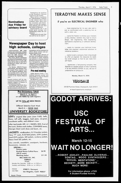 Daily Trojan, Vol. 66, No. 85, March 07, 1974