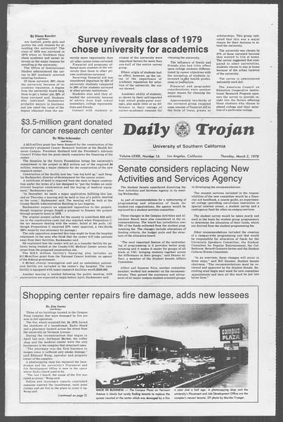 Daily Trojan, Vol. 73, No. 16, March 02, 1978