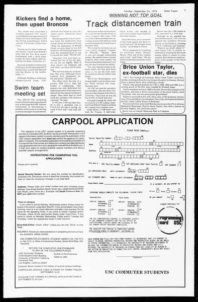 Daily Trojan, Vol. 67, No. 7, September 24, 1974
