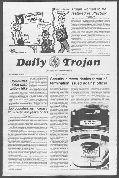 Daily Trojan, Vol. 73, No. 25, March 15, 1978