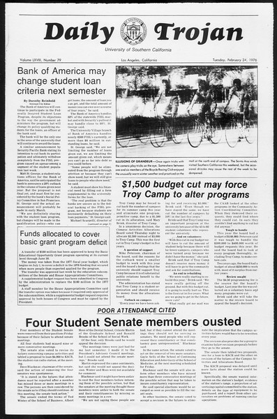 Daily Trojan, Vol. 68, No. 79, February 24, 1976