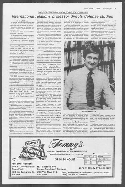 Daily Trojan, Vol. 73, No. 30, March 31, 1978
