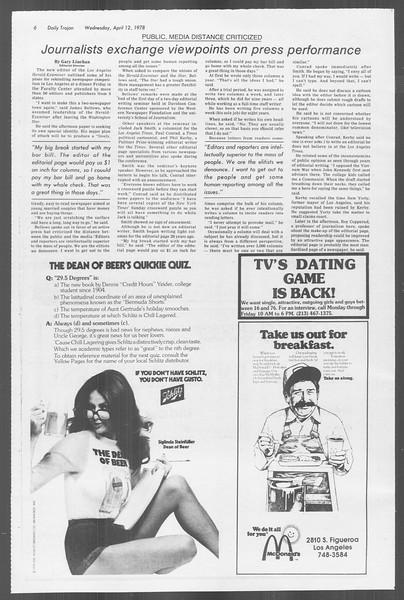 Daily Trojan, Vol. 73, No. 38, April 12, 1978
