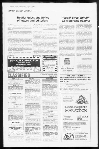 Summer Trojan, Vol. 66, No. 14, August 08, 1973