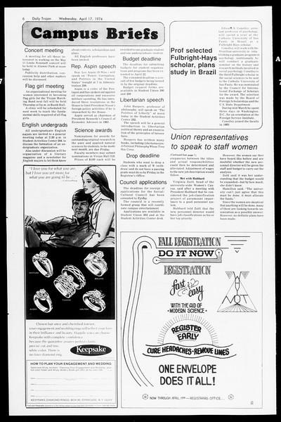 Daily Trojan, Vol. 66, No. 107, April 17, 1974