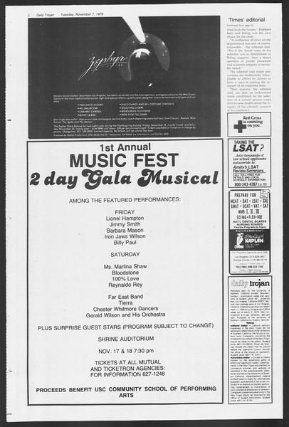 Daily Trojan, Vol. 75, No. 33, November 07, 1978