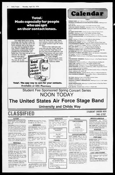 Daily Trojan, Vol. 66, No. 108, April 18, 1974