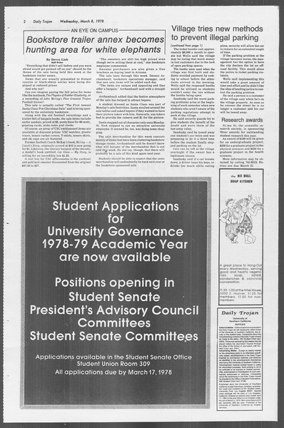 Daily Trojan, Vol. 73, No. 20, March 08, 1978