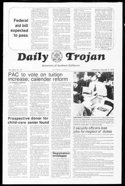 Daily Trojan, Vol. 67, No. 37, November 06, 1974