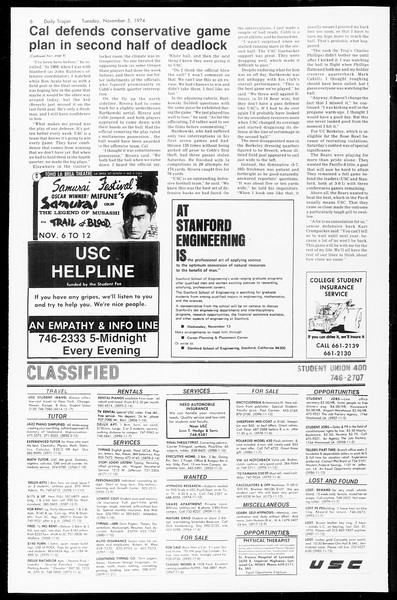Daily Trojan, Vol. 67, No. 36, November 05, 1974