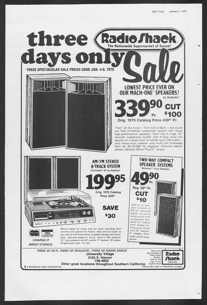 Daily Trojan, Vol. 75, No. 58, January 05, 1979