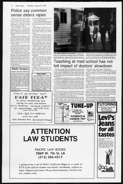 Daily Trojan, Vol. 68, No. 63, January 08, 1976