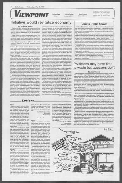 Daily Trojan, Vol. 73, No. 53, May 03, 1978