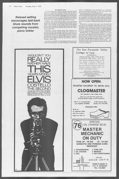 Daily Trojan, Vol. 73, No. 54, May 04, 1978
