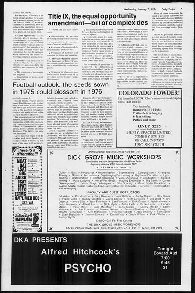 Daily Trojan, Vol. 68, No. 62, January 07, 1976