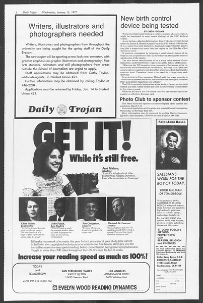 Daily Trojan, Vol. 70, No. 62, January 12, 1977